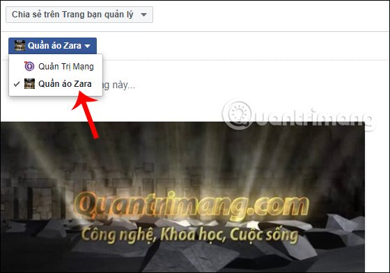 Chọn Fanpage muốn đăng video