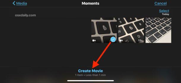 Chọn video muốn cắt
