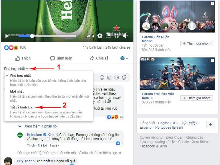 Cách ẩn Bình Luận Trên Fanpage 8