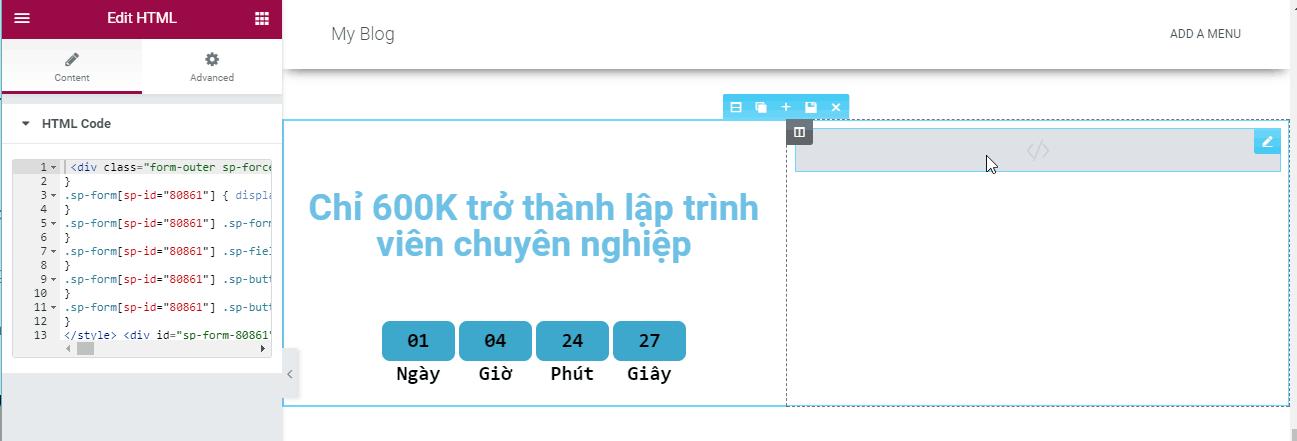 tạo landing page đơn giản sử dụng elementor 14