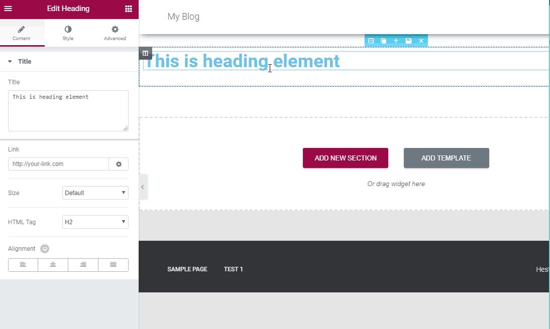 tạo landing page đơn giản sử dụng elementor 5